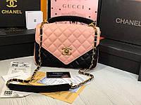 Необычная женская сумка в комбинации цвета розового и чёрного, фото 1