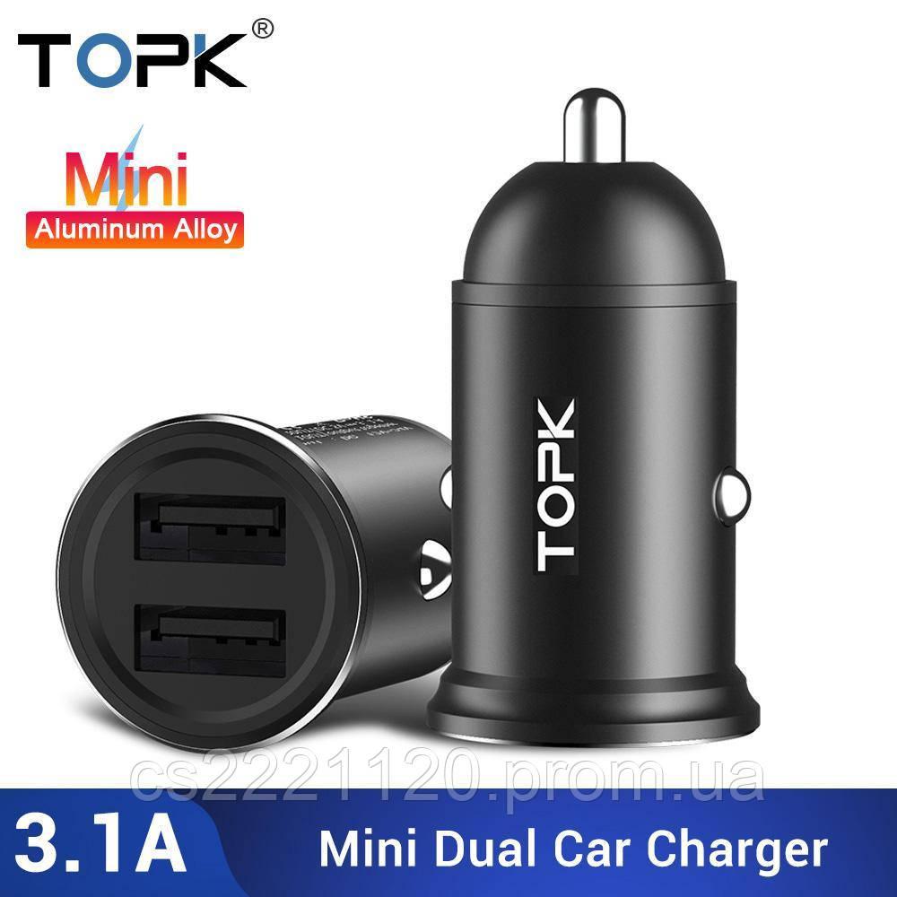 Автомобильное зарядное устройство TOPK Quick Charge 3.0. 2 USB порта