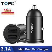 Автомобільний зарядний пристрій TOPK Quick Charge 3.0. 2 USB порту
