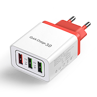 Сетевое зарядное устройство 3 port USB Quick Charge 3,0 SLS-B03 White Red