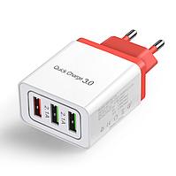 Сетевое зарядное устройство для быстрой зарядки 3 USB порта QC3.0 зарядный блок блочок зарядка для телефона 8K