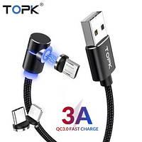 Магнитный USB кабель TOPK 3A. micro USB, Type C, Apple Lightning.