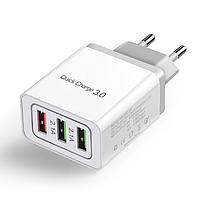 Сетевое зарядное устройство для быстрой зарядки 3 USB порта QC3.0 зарядный блок блочок зарядка для телефона 8G
