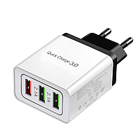 Сетевое зарядное устройство 3 port USB Quick Charge 3,0 SLS-B03 White Black