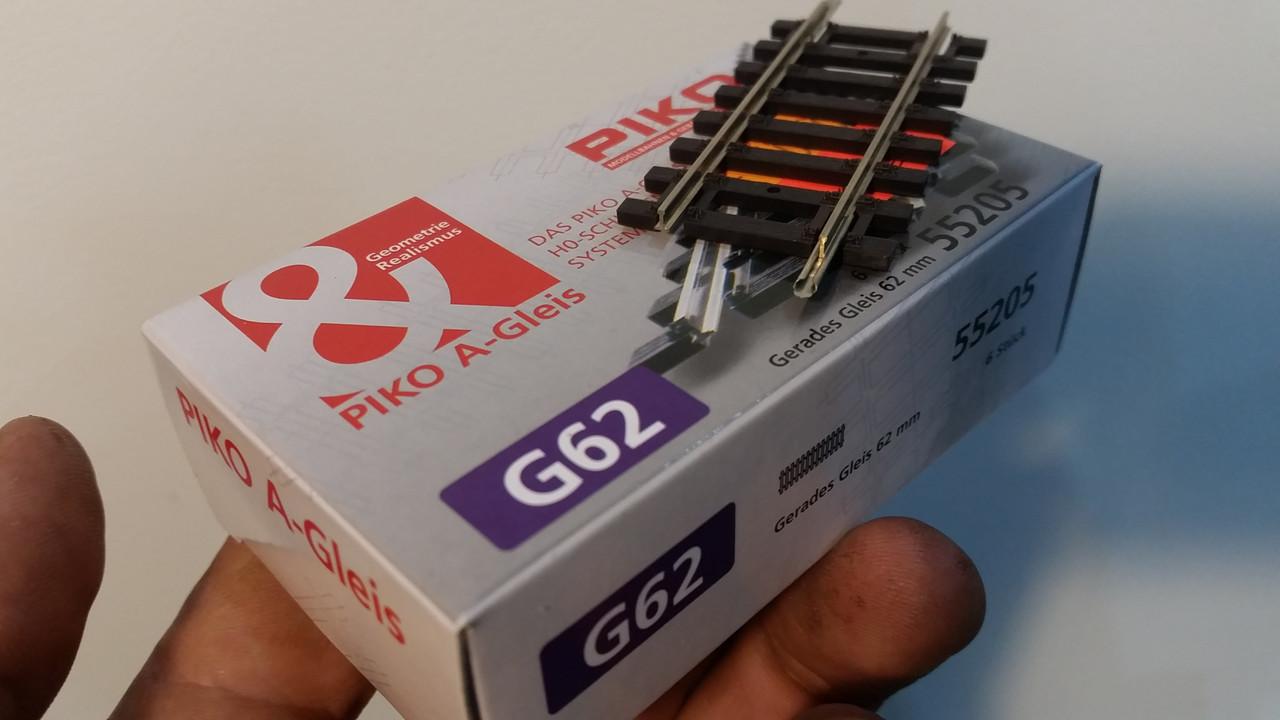Прямой  рельс длиной 62 мм G62, PIKO A-Gleis 55205, масштаба 1:87