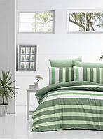 """Комплект постельного белья евро Victoria """"STRIPE green"""""""