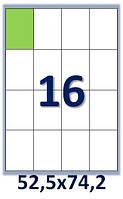 Бумага самоклеющаяся формата А4. Этикеток на листе А4: 16 шт. Размер: 52,5х74,2 мм. От 115 грн/упаковка*