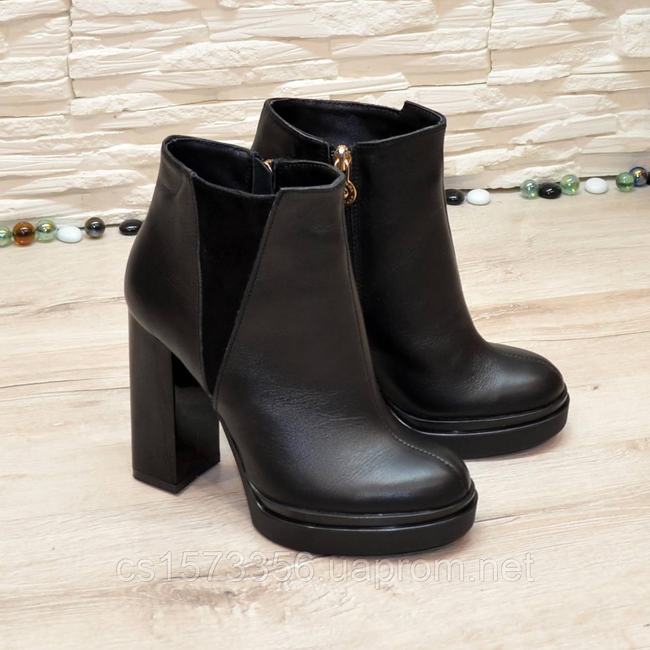 Ботинки женские на высоком устойчивом каблуке, натуральная черная кожа и замша