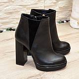 Ботинки женские на высоком устойчивом каблуке, натуральная черная кожа и замша, фото 2