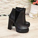 Ботинки женские на высоком устойчивом каблуке, натуральная черная кожа и замша, фото 3