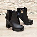 Ботинки женские на высоком устойчивом каблуке, натуральная черная кожа и замша, фото 4