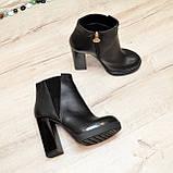 Ботинки женские на высоком устойчивом каблуке, натуральная черная кожа и замша, фото 5