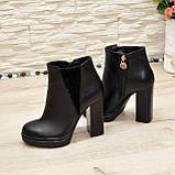 Ботинки женские на высоком устойчивом каблуке, натуральная черная кожа и замша, фото 6