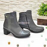 Ботинки женские кожаные на невысоком каблуке, цвет серый, фото 2