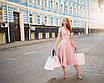 Элегантное платье миди на пуговицах с декольте трикотажное юбка солнце нарядное розовое пудровое белое, фото 3