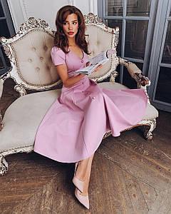 Элегантное платье миди на пуговицах с декольте трикотажное юбка солнце нарядное розовое пудровое белое