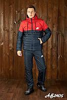 Костюм спортивный плащевка теплый мужской Nike, синий-красный зимний утепленный лыжный стеганый дутый куртка