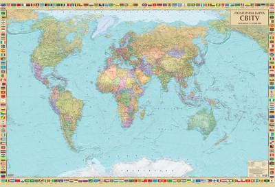 Політична карта світу (на картоні на планках)