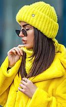 В'язаний комплект шапка з хомутом з пряжі травичка різних кольорів, фото 3