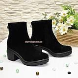 Ботинки женские на устойчивом каблуке, из натуральной замши черного цвета, фото 5
