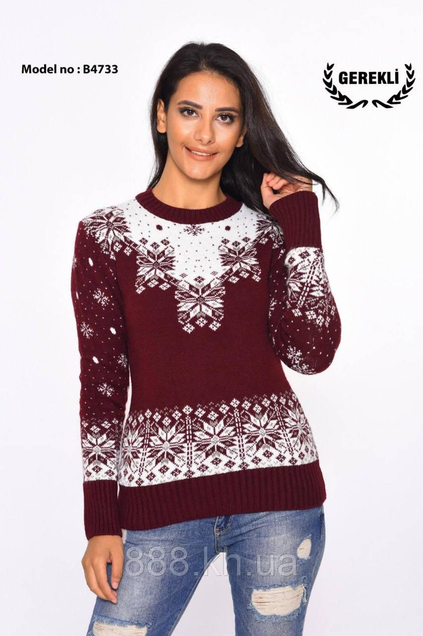 Нарядный теплый шерстяной женский свитер  (вязка)