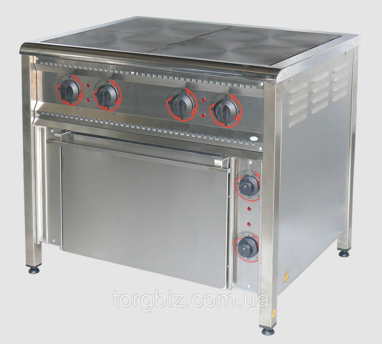 Электрическая плита 4-х конфорочная с духовкой ПЭ-4Ш Н (Нерж. сталь)