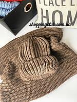 Женский шарф хомут (снуд) коричневый шерсть/акрил
