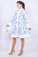 Костюм снегурочки, белая в голубую снежинку 42-48