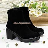 Ботинки женские на устойчивом каблуке, из натуральной замши черного цвета, фото 2