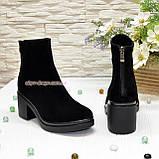 Ботинки женские на устойчивом каблуке, из натуральной замши черного цвета, фото 3