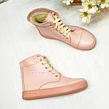 Ботинки кожаные женские на шнуровке, цвет пудра, фото 2