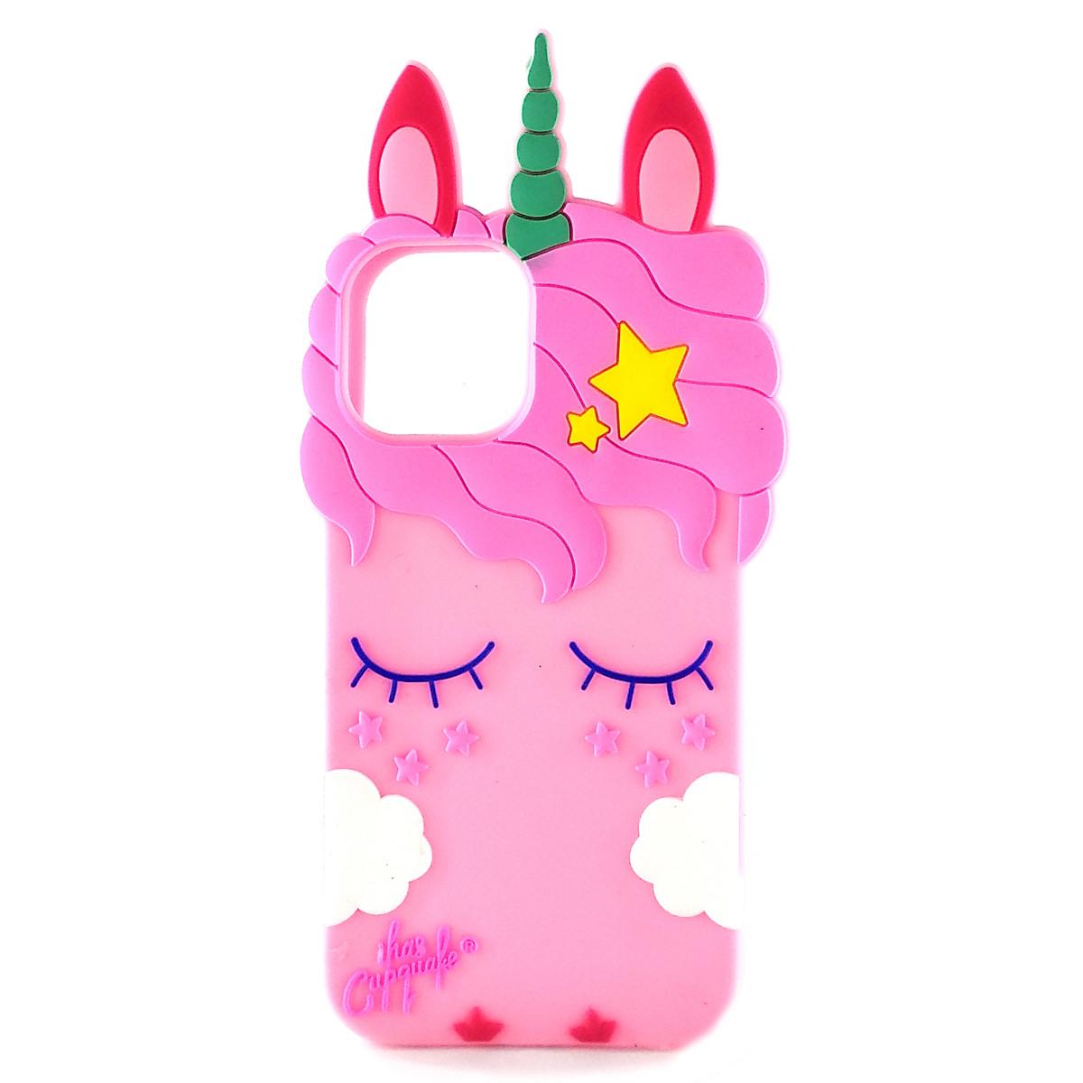Резиновый 3D чехол для iPhone 11 Pro Единорог (Розовый)