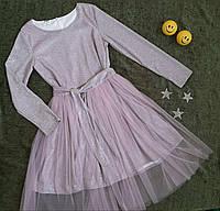 Нарядне плаття на дівчинку з переливом та знімною спідницею р. 134 -140, рожеве, фото 1
