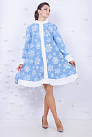 Костюм снегурочки голубой с белыми снежинками 42-48