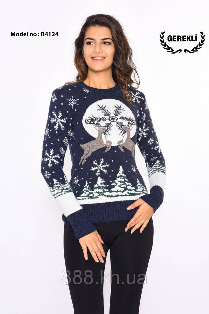Шикарный теплый шерстяной женский свитер  (вязка)