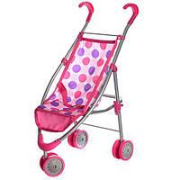Візок 9628 для ляльки, мет., прогулянковий, ремені безпеки, подвійні колеса, 27-63-8 см.