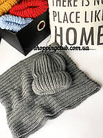 Женский шарф хомут (снуд) темно-серый шерсть/акрил