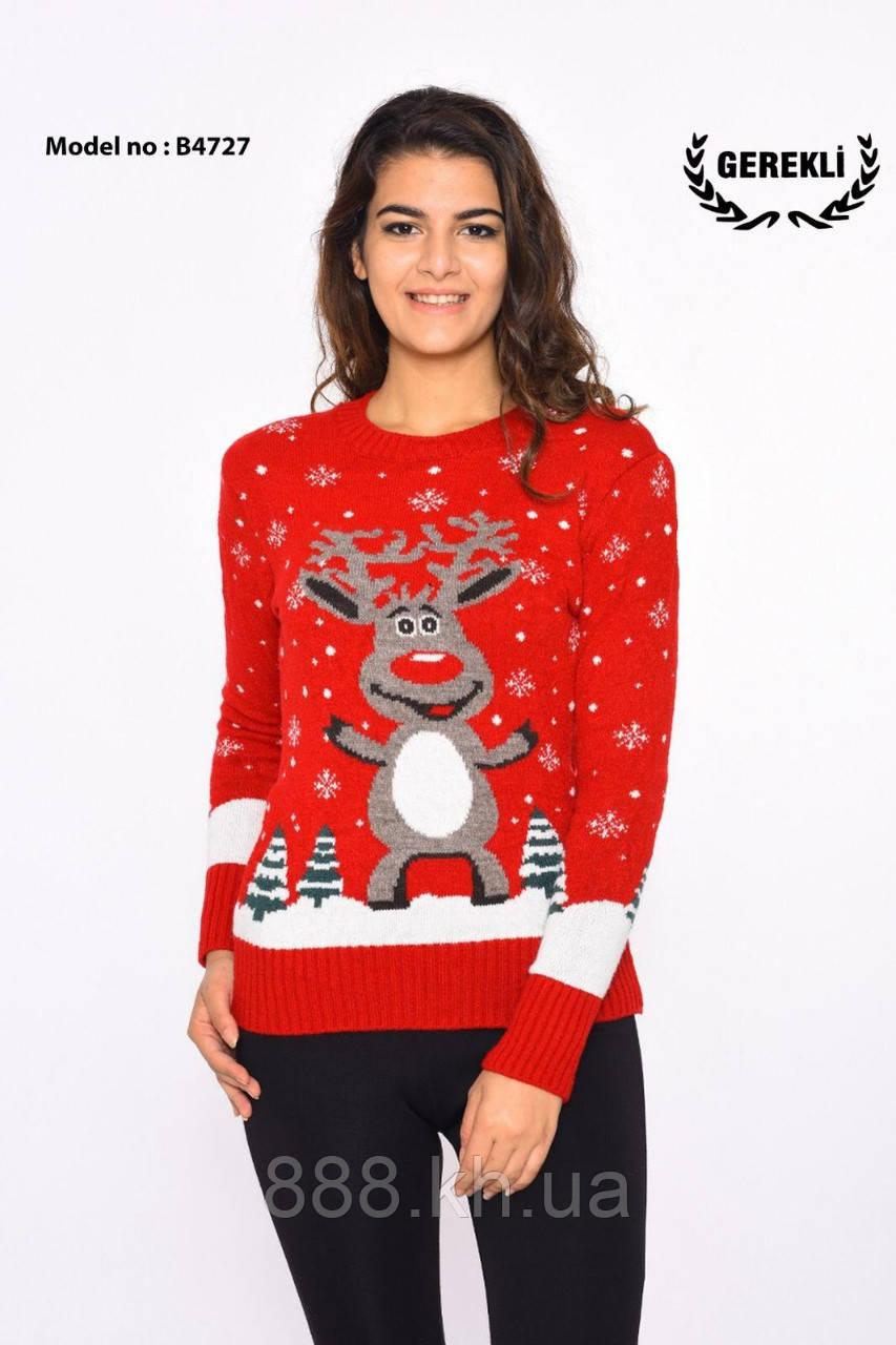 Яркий шерстяной женский свитер  (вязка)