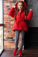 Стильная объемная зимняя тёплая  куртка на девочку (силикон 300,подкладка флис )