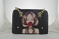 Оригинальная сумка черная с рисунком женская, фото 1