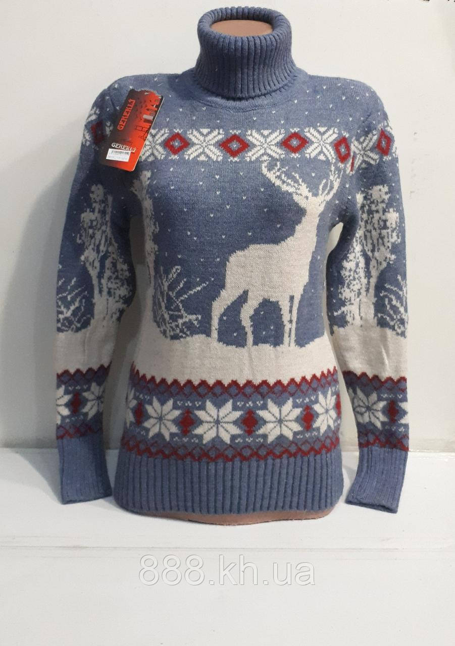 Шерстяной женский свитер с оленем  (вязка)