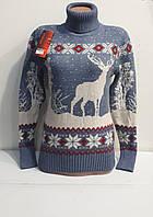 Шерстяной женский свитер с оленем  (вязка), фото 1