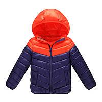 Стильная детская весенняя куртка, оранжевый-синий Berni, на мальчика