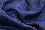 Шарф двухсторонний из шерсти/шелка синий/золотой, фото 5