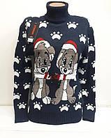 Очень теплый шерстяной женский свитер с собачками (вязка), фото 1