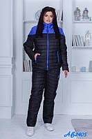 Зимний теплый спортивный костюм, лыжный стеганый синтепон женский, черный куртка на овчине и штаны теплые
