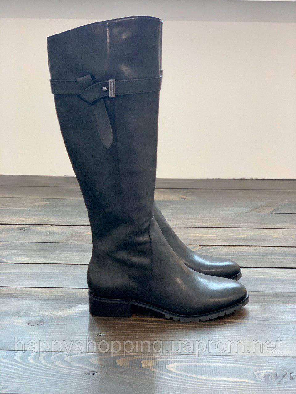 Женские черные осенние кожаные сапоги Karl Lagerfeld