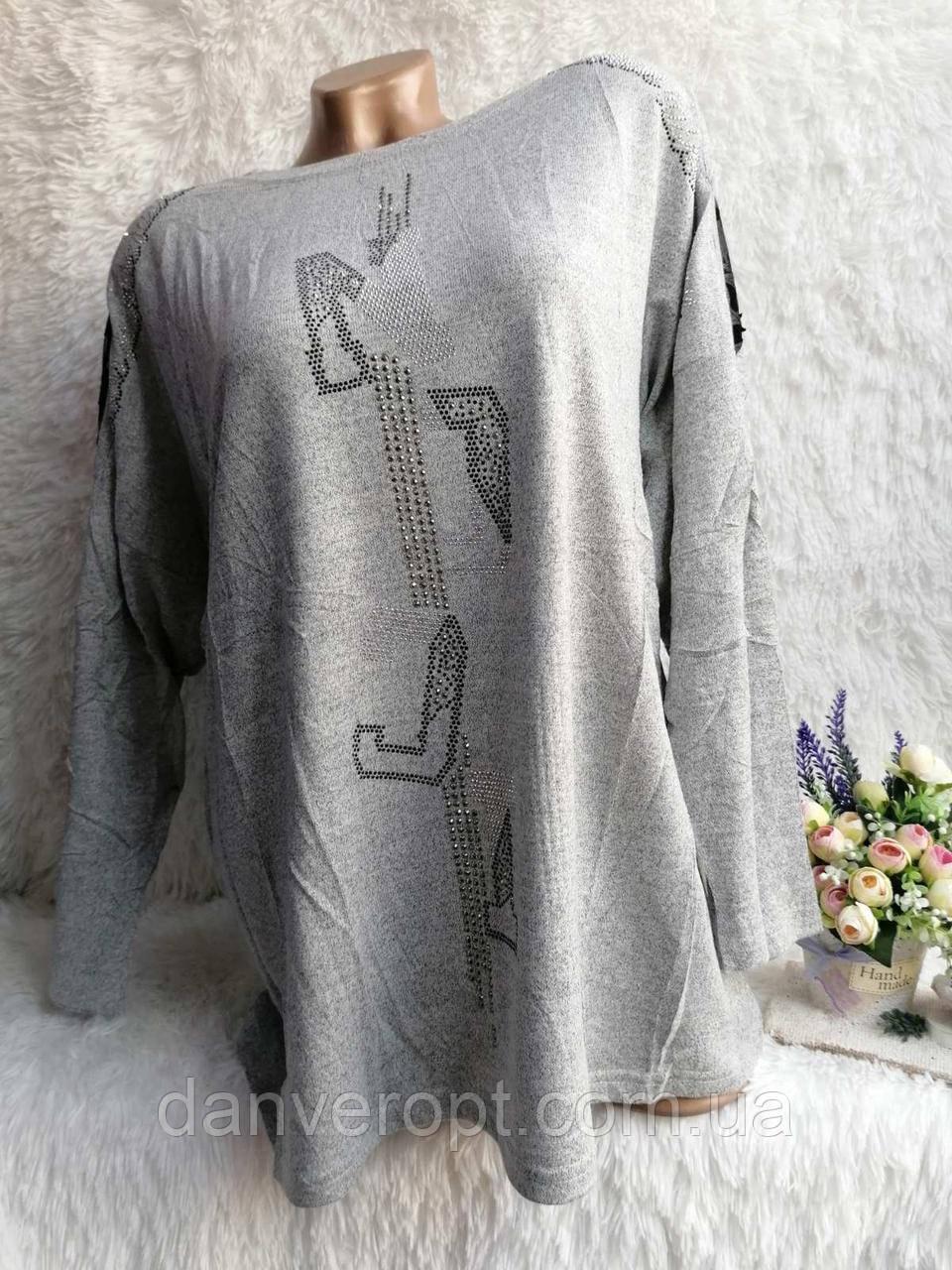 Туника женская модная стильная со стразами размер XL-3XL купить оптом со склада 7км Одесса