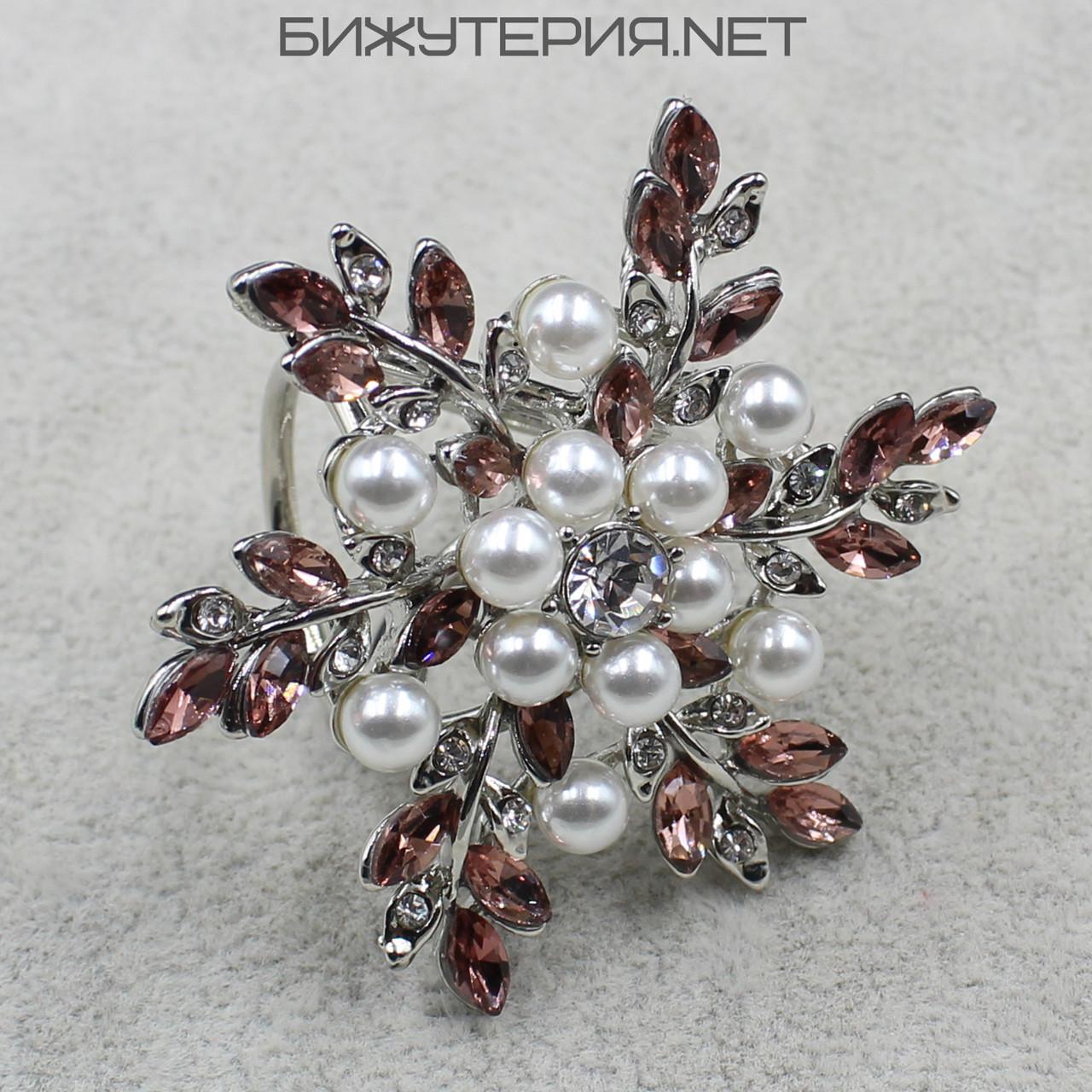 Кольцо JB  для платка или шарфа с искусственным жемчугом и кристаллами - 1060255661