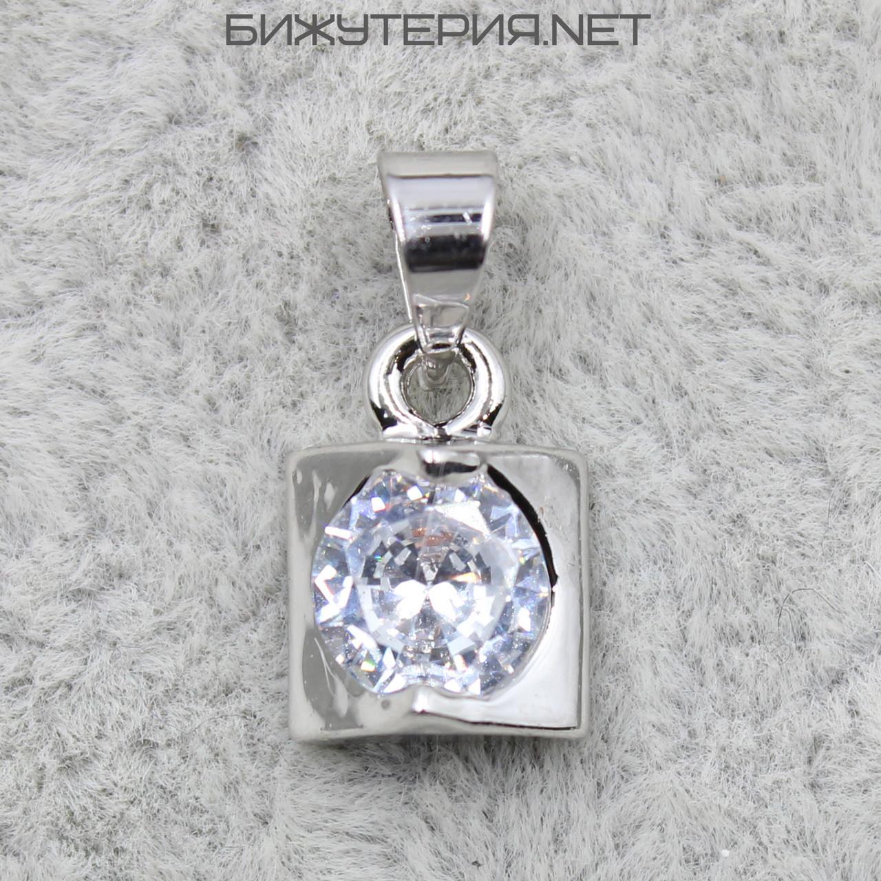 Кулон женский Stainless Steel с кристаллом цвет металла белое золото - 1063360091